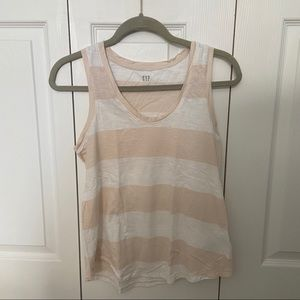 Cream and white striped tank